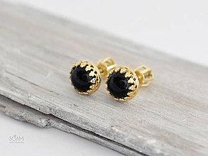 Náušnice - CERTIFIKÁT 585/1000 zlaté náušnice s prírodným čierným onyxom - 9887196_