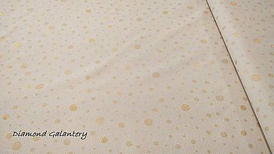 Textil - Látka pretkávaná lurexovou niťou - bodky zlaté - cena za 10 cm - 9885879_