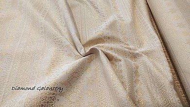 Textil - Látka pretkávaná lurexovou niťou - Vianočný mix v páse zlatý - cena za 10 cm - 9886699_