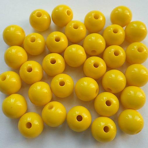 Korálky COLOR plast 10mm (žltá-10ks)