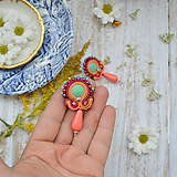 Náušnice - Orange-turquoise earrings - sutaškové náušnice - 9885915_