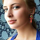 Náušnice - Orange-turquoise earrings - sutaškové náušnice - 9885916_