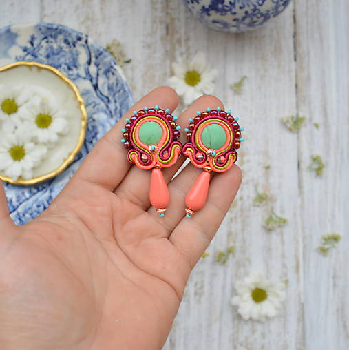Orange-turquoise earrings - sutaškové náušnice