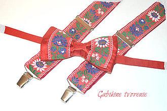 Doplnky - Folk setík v červenom - 9887556_
