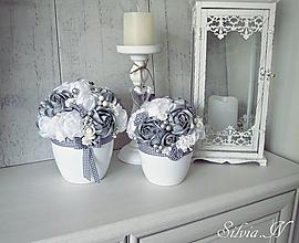 Dekorácie - Kvetináč,ruže zo stúh. - 9886319_