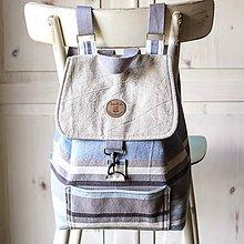 Batohy - Pásikavý ľanový ruksak - 9886692_
