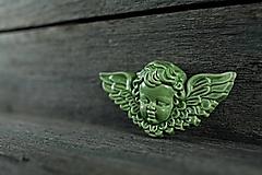 Dekorácie - Reliéfní anděl zelený - 9886642_