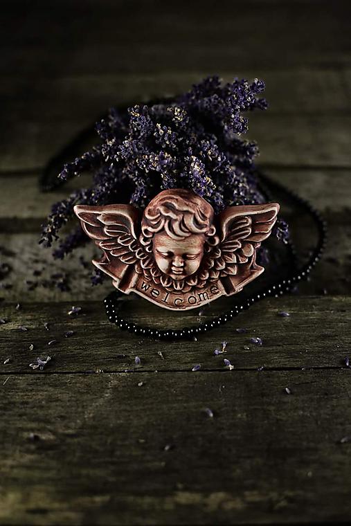 Reliéfní anděl patina železo welcome