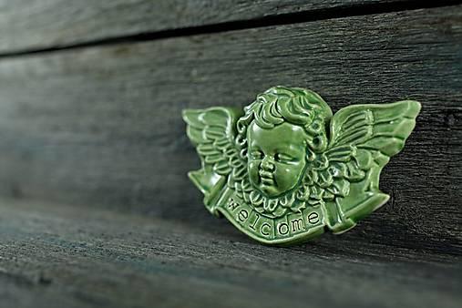 Reliéfní anděl zelený welcome
