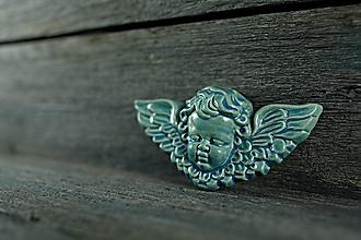 Dekorácie - Reliéfní anděl modrý - 9886625_
