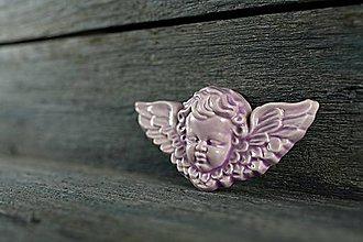 Dekorácie - Reliéfní anděl lila - 9886654_