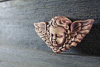 Dekorácie - Reliéfní anděl patina železo - 9886689_