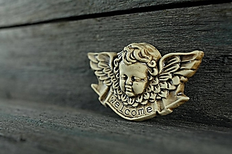 Dekorácie - Reliéfní anděl patina burel welcome - 9886774_