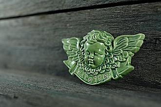 Dekorácie - Reliéfní anděl zelený vitajte - 9886839_