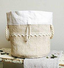 Úžitkový textil - Podšité vrecko na chlieb a pečivo z ručne tkaného ľanu 3v1 (25 cm priemer kruhux22 cm výška) - 9887099_