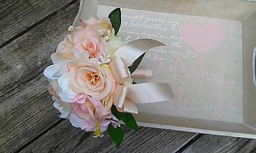 Dekorácie - Kytička pre družičky ružovo krémová - 9888715_