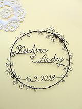Dekorácie - venček s menami a dátumom svadby - 9891416_