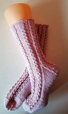 Obuv - Ponožky- romantika - certifikovaná originál ponožková priadza (Podľa objednávky od 36 do 40 - Ružová) - 9890618_