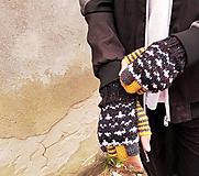 Rukavice - Rukavice polprstové so vzorom - 9891016_