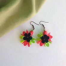 Náušnice - červeno zelené - 9890530_