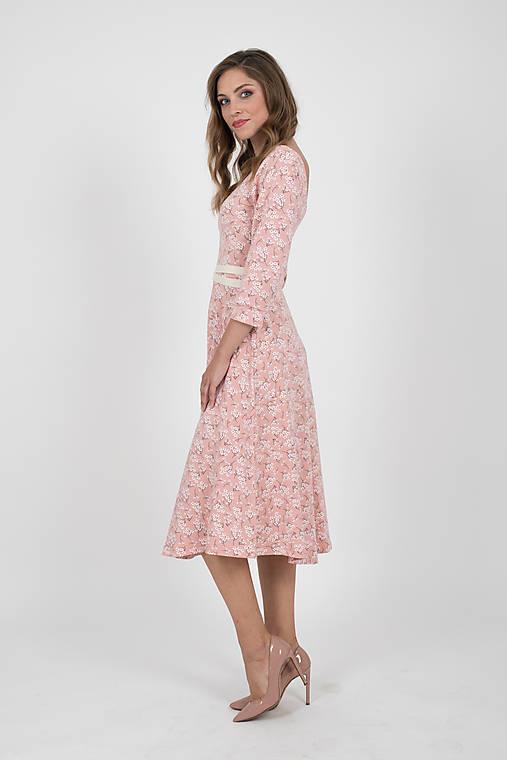 Zľava 20% MIESTNE šaty midi kvet (ružové)