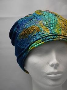 Čiapky - Modro-žltá plstená čiapka s hodvábnym detailom - 9891075_