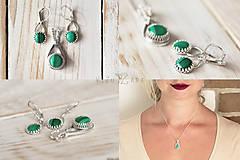 Sady šperkov - Strieborná súprava s malachitom - Malachitová jemnosť - 9890655_