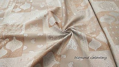 Textil - Látka pretkávaná lurexovou niťou - Vianočný mix medeno strieborný - cena za 10 cm - 9890008_