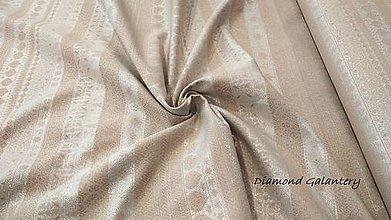 Textil - Látka pretkávaná lurexovou niťou - Vianočný mix v páse medeno stireborný - cena za 10 cm - 9890036_