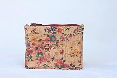 - Korková peňaženka lúka/kvety - 9890980_