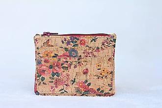 Peňaženky - Korková peňaženka lúka/kvety - 9890980_
