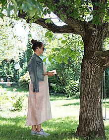 Šaty - ľanové šaty dlhé - 9891997_