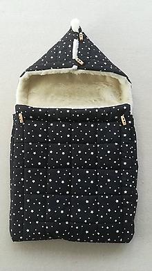 Textil - RUNO SHOP fusak pre deti do kočíka 100% ovčie runo MERINO TOP super wash Hviezdička čierno biela - 9891088_