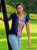 Topy, tričká, tielka - Dámske tričko batikované, maľované  POD LAMPOU - 9889229_