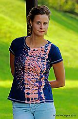 Topy, tričká, tielka - Dámske tričko batikované, maľované  POD LAMPOU - 9889230_