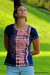 Topy, tričká, tielka - Dámske tričko batikované, maľované  POD LAMPOU - 9889237_