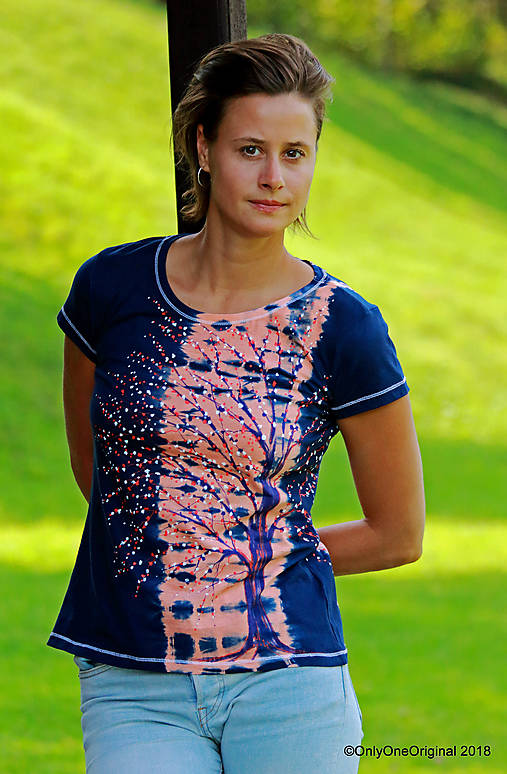 Dámske tričko batikované, maľované  POD LAMPOU