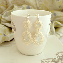 Náušnice - Cream Diamond (Ag925/1000)   (Light Ivory) - 9890775_