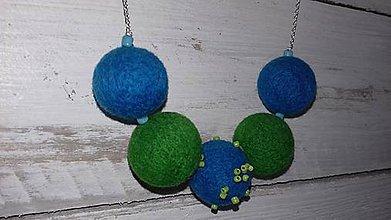 Náhrdelníky - Plstený náhrdelník - Zeleno - tyrkysový - 9889602_