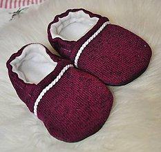 Topánočky - Capačky bordové s námorníckou ozdobou 9-12 mesiacov - 9890192_