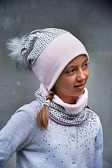 Detské súpravy - Zimný set Twist nositeľný na 2 spôsoby SILVER & PINK - 9891989_