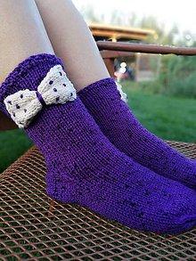 Obuv - fialové ponožky s mašlou - 9891061_