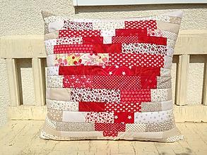 Úžitkový textil - Srdiečkový vankúš - 9891913_