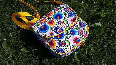 Veľké tašky - Crossbody Folk kabelka (Biela -žltý lem) - 9892127_