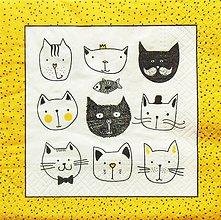 Papier - S1262 - Servítky - cats, mačky, mačičky,rybka, mačiatka, bodky - 9892906_