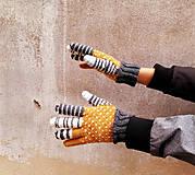 Rukavice - Rukavice prstové čb pásiky - 9893497_