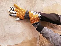 Rukavice - Rukavice prstové čb pásiky - 9893499_