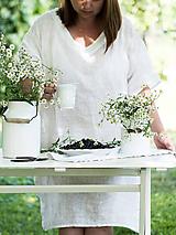 Šaty - ľanové šaty (Biela) - 9892655_