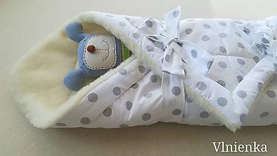 Textil - Klasická zavinovačka pre novorodenca zimná 100% MERINO TOP Bodka - 9895079_
