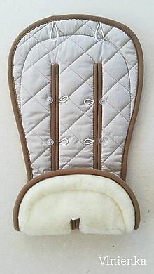 Textil - MERINO podložka do kočíka BUGABOO Bee / Buffalo/ Cameleon/ Donkey s ozdobným prešitím ELEGANT Sand 100% wool - 9895475_